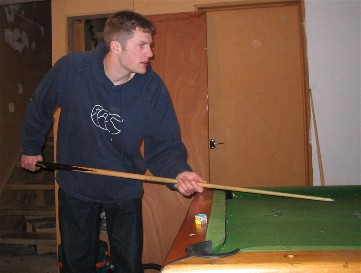 Playing Pool at my flat
